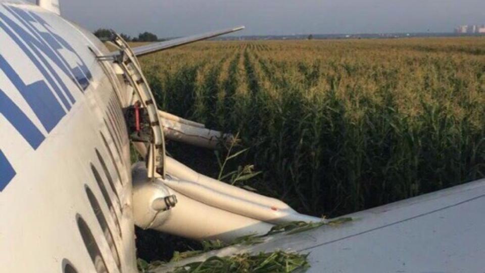 Самолет «Уральских авиалиний», севший в кукурузном поле, подготовлен к эвакуации