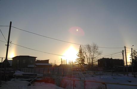 Ноябрьские морозы подарили челябинцам три солнца