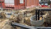 На месте провала грунта на улице Куйбышева закончили установку нового коллектора