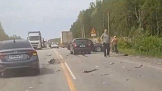 Видео с места тройного ДТП на трассе М-5