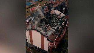Последствия пожара в Залесье сняли на камеру с квадрокоптера