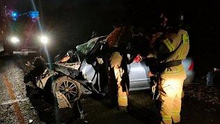 Ночное ДТП со смертельным исходом сняли на видео пожарные