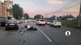 В Челябинске мотоциклиста госпитализировали после лобового ДТП