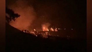 В Миассе пожар на пилораме попал в объективы камер