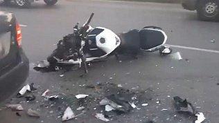 Видео последствий ДТП с мотоциклистом в Челябинске