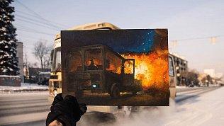 Горящие автобусы и спящие пассажиры: художница из Челябинска нарисовала серию картин о маршрутках