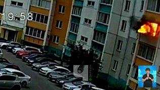 Пожар на балконе в Челябинске