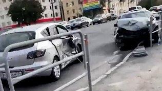 Тройное ДТП в Челябинске попало на видео