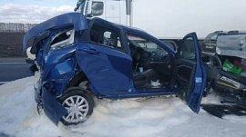 Четыре машины попали в ДТП на трассе в Башкирии: видео с места происшествия