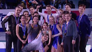 Церемония награждения победителей чемпионата России по фигурному катанию