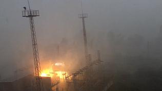 Пожар на электроподстанции в Миассе попал на видео