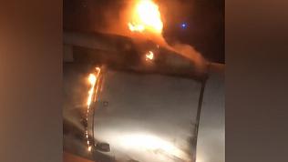 Возгорание двигателя самолета попало на видео