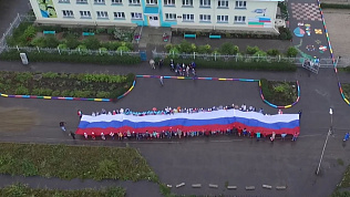 30-метровый флаг южноуральских школьников попал на видео