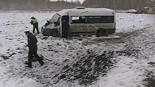 Маршрутка с 12 пассажирами вылетела с дороги