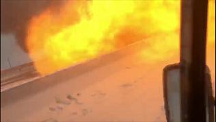 В результате массового ДТП в Ростовской области взорвалась машина. ВИДЕО