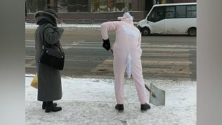 Очередной необычный персонаж метет тротуары Челябинска. На этот раз единорог