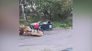 Дети играют на мусорке в Златоусте