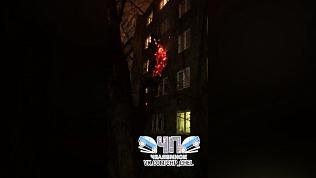 Пылающее дерево во дворе по улице Героев Танкограда