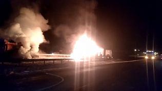 Автоцистерна вспыхнула на трассе М-5 после ДТП
