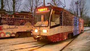 Новогодние трамваи появились в Челябинске