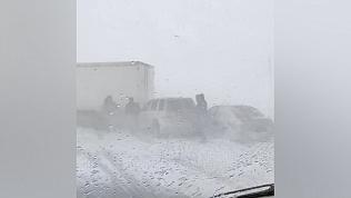 На трассе Челябинск — Магнитогорск массовое ДТП из-за метели