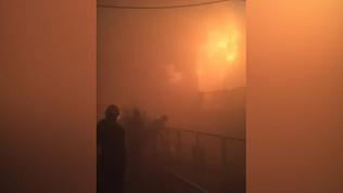 Пожар в цеху Магнитогорского металлургического комбината попал на видео