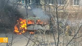 В одном из миасских дворов загорелся автомобиль