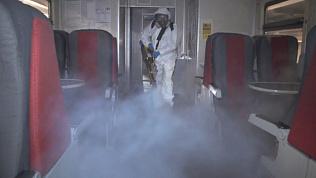Электрички на ЮУЖД дезинфицируют холодным туманом