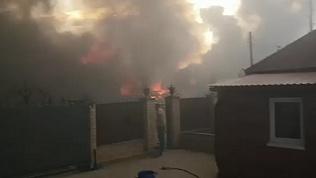 Видео пожара в деревне Большаково