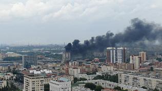 Видео пожара в центре Челябинска, снятое с квадрокоптера