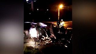 Видео ДТП на улице Доватора: машину разорвало на две части