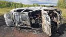 «Лада» опрокинулась и загорелась на дороге под Южноуральском