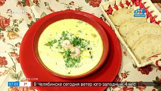 Вкусные истории — сырный суп с креветками