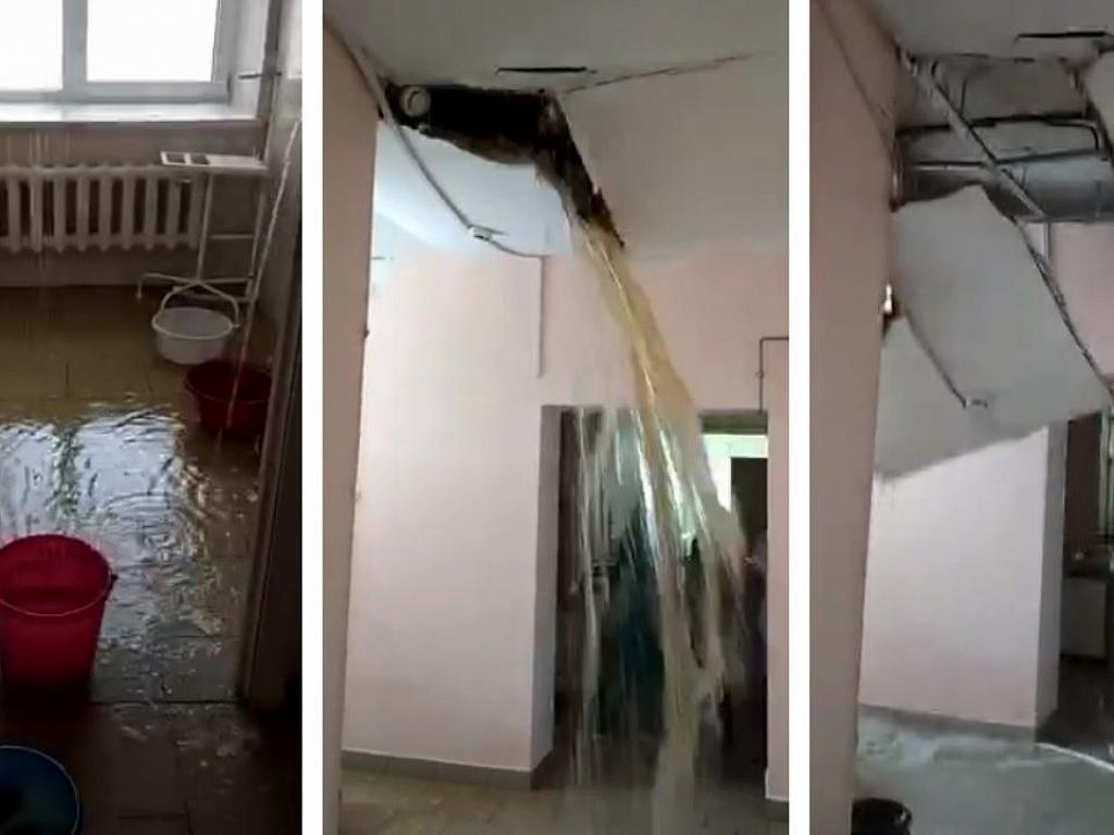 Потолок рухнул из-за прорыва трубы в роддоме в Челябинской области
